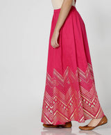Ethnic Gold Print Kalidar Skirt
