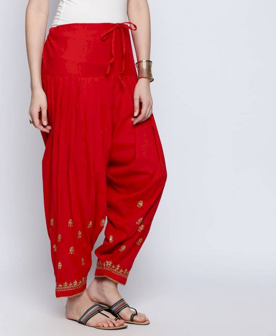 Red Zari Embroidered Patiala