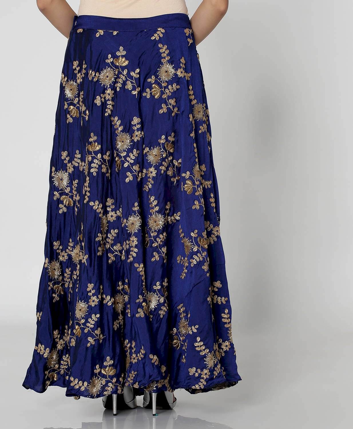 Blue Embroidered Kalidar Festive Skirt