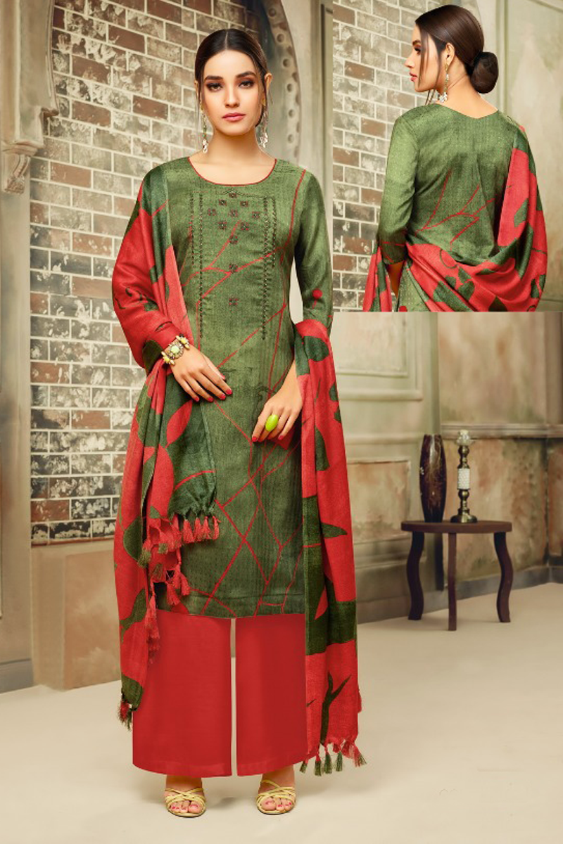 Pashmina Straight Suit Dress Material in Grey & Green