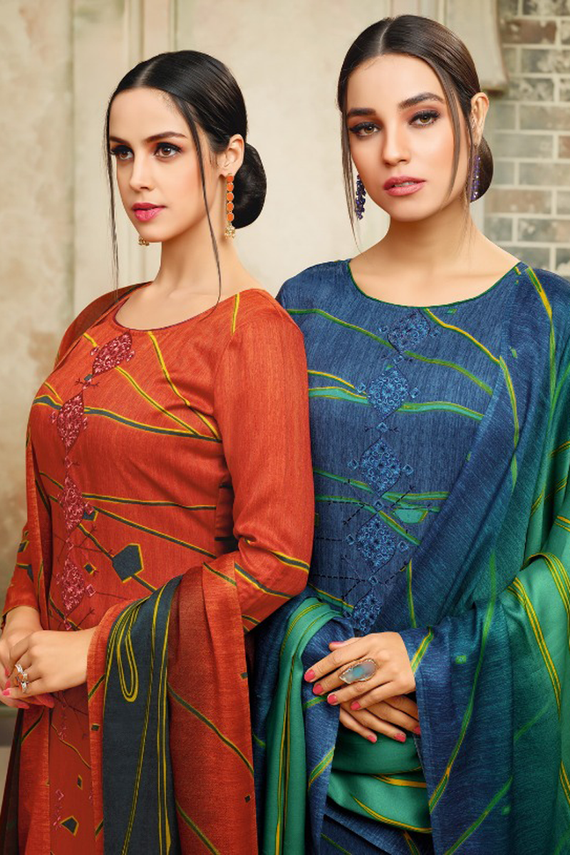Pashmina Straight Suit Dress Material in Rust & Blue Color