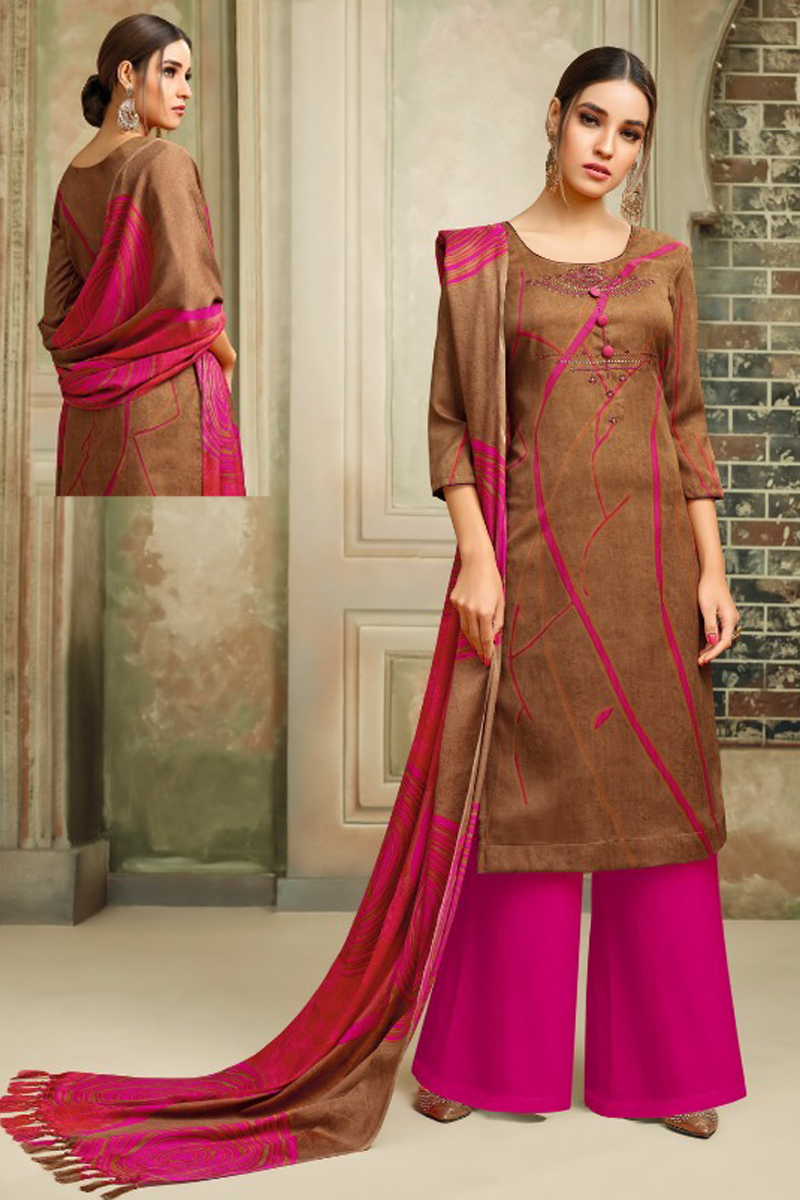 Pashmina Straight Suit Dress Material in Brown Color