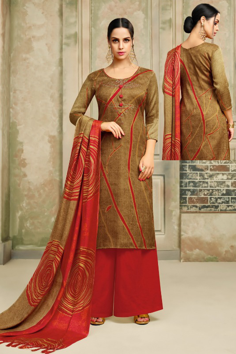 36d2b27035 Pashmina Straight Suit Dress Material in Brown Color – Online Indian ...