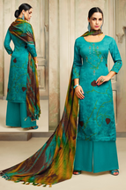 Pashmina Straight Suit Dress Material in Green & Grey Color