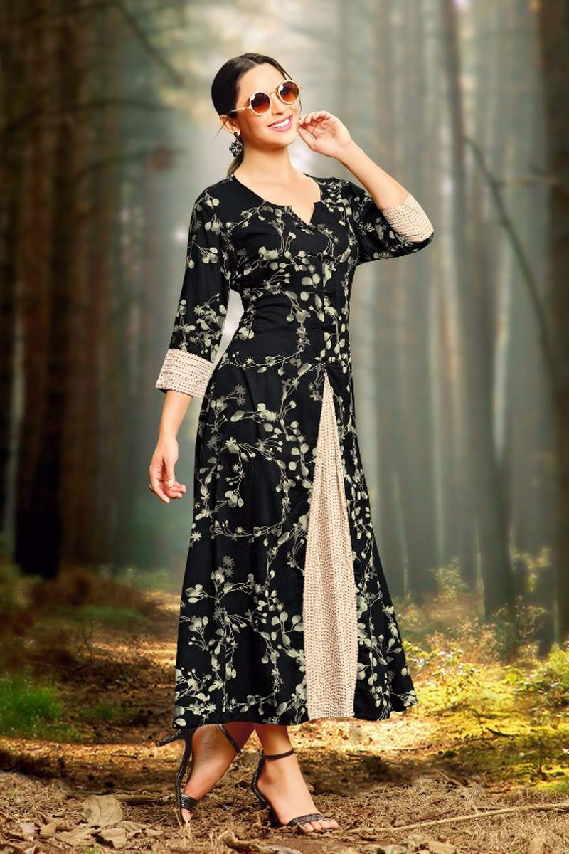 Casual Long Printed Black Kurti