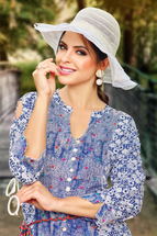 Casual Long Printed Blue & White Flared Kurti