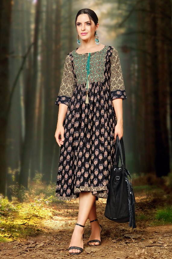 Casual Long Printed Black Yoke Style Kurti