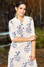 Casual Long Off White Printed Kurti