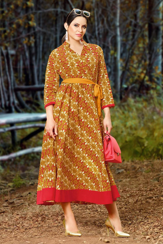 Casual Long Mustard Printed Kurti