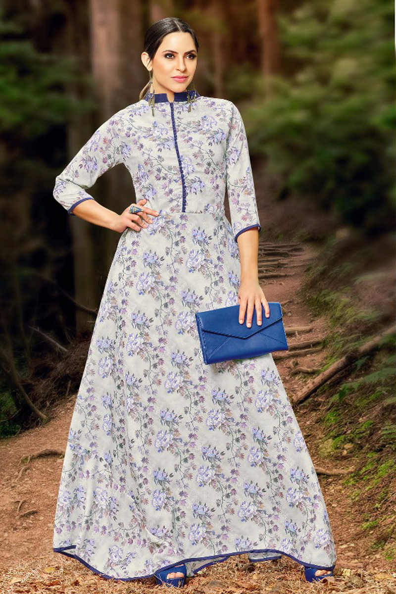 Casual Long Off White & Blue Printed Kurti
