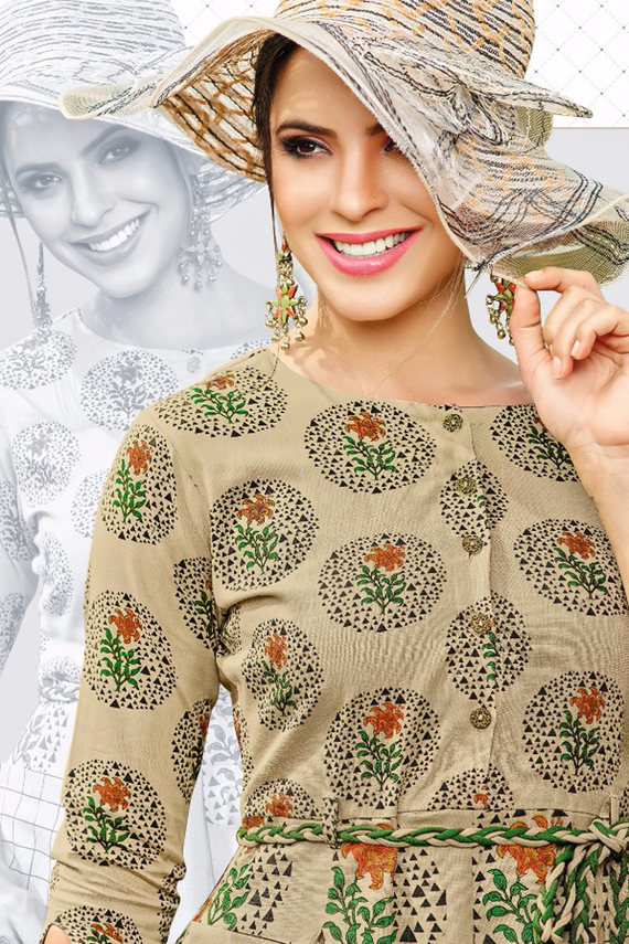 Casual Long Beige Printed Kurti