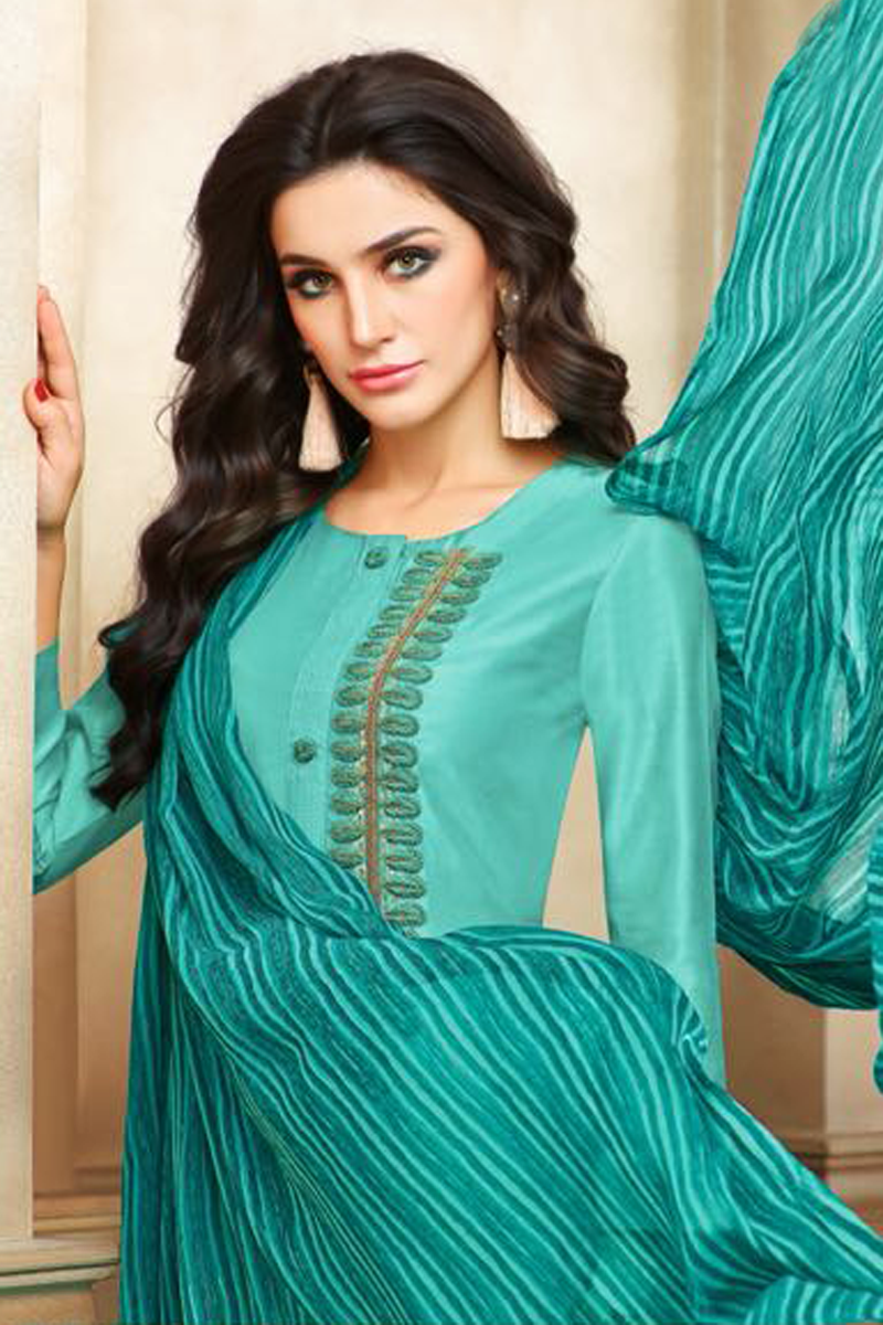 Real Charm Chanderi Cotton Cyan Dress Material