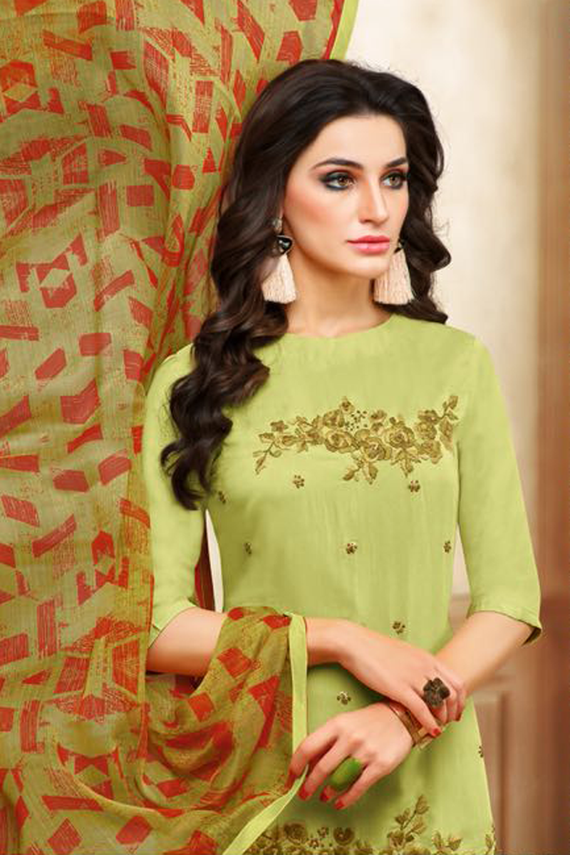 Real Charm Chanderi Cotton Light Green Dress Material
