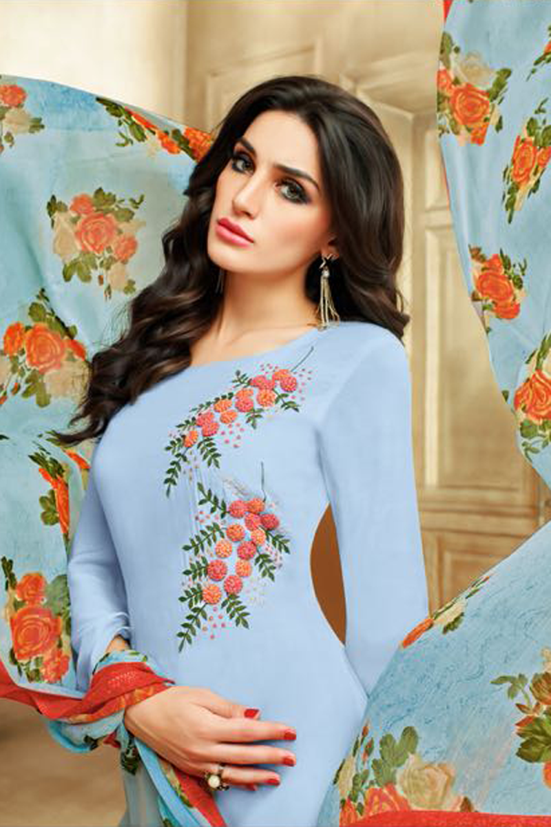 Real Charm Chanderi Cotton Light Blue Dress Material
