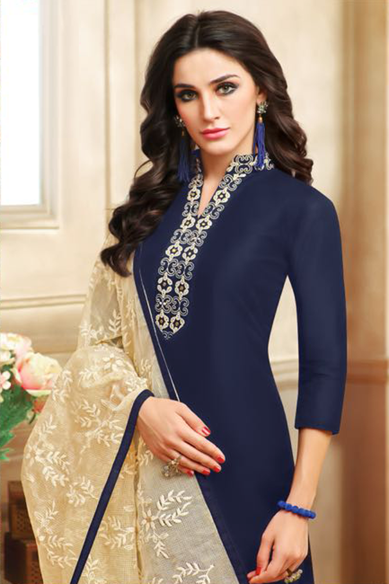 e5200427ab Real Charm Chanderi Cotton Navy Blue Dress Material – Online Indian ...