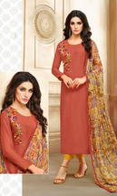 Real Charm Chanderi Cotton Peach Dress Material
