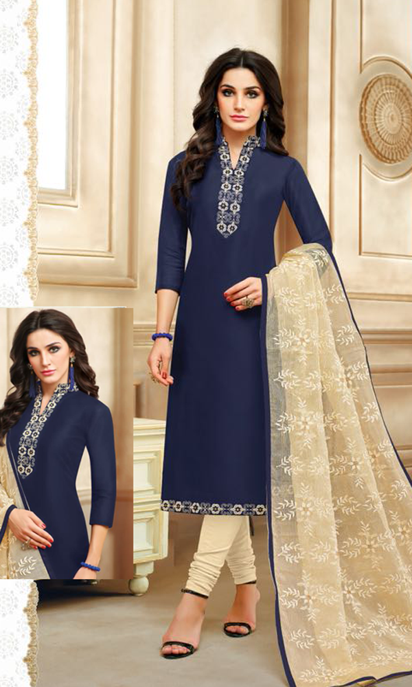 Real Charm Chanderi Cotton Navy Blue Dress Material