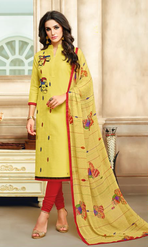 Real Charm Chanderi Cotton Yellow Dress Material