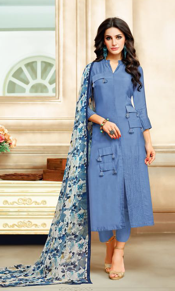 Real Charm Chanderi Cotton Steel Blue Dress Material