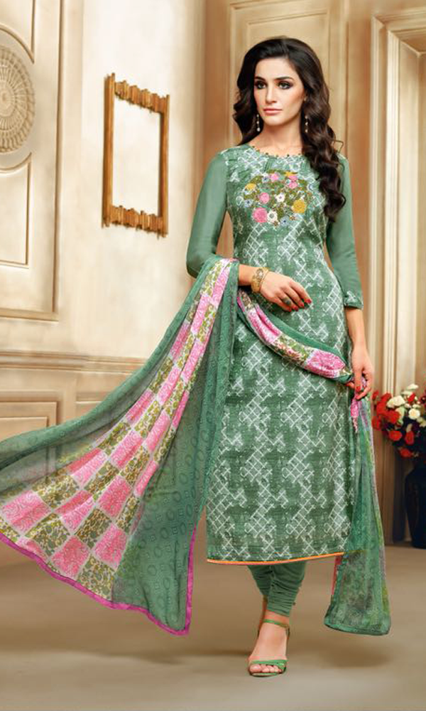 Real Charm Chanderi Cotton Green Dress Material