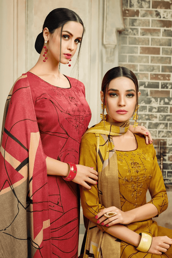 Pashmina Straight Suit Dress Material in Red & Yellow Color