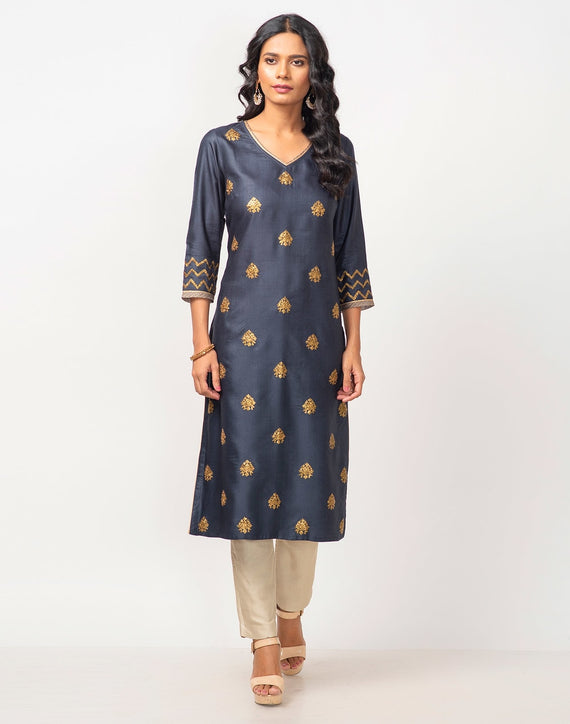 Viscose Tussar Pita Embroidered Long Kurta