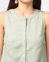 Cotton Silk Striped Front Placket Top