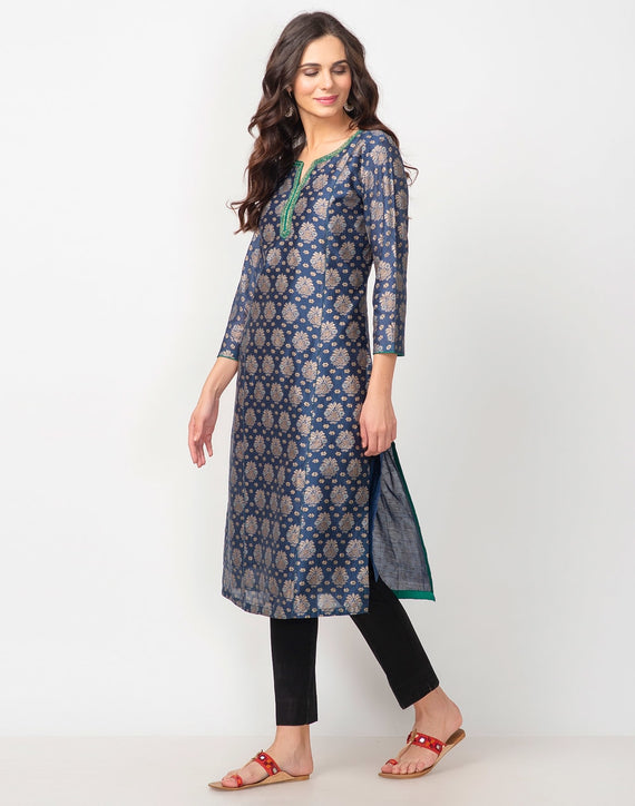 Cotton Silk Printed Long Kurta