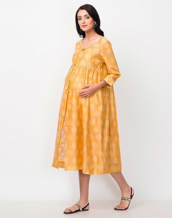 Yellow Cotton Silk Printed Kurta