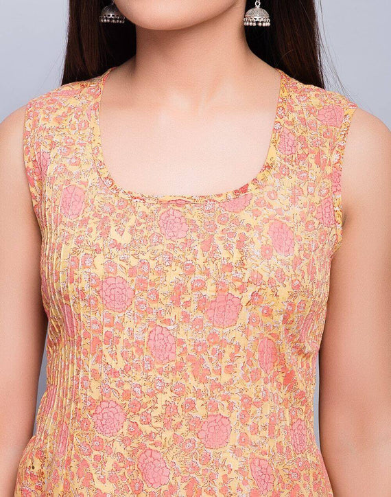 Yellow Cotton Slub Printed Pintuck Top