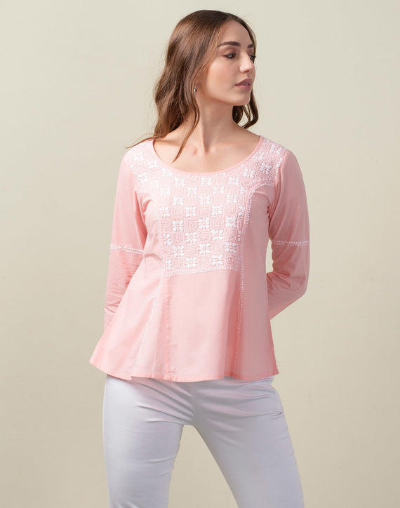 Cotton Chikankari Yoke Detail Top