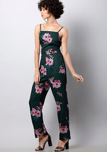 Teal Floral Back Cut Out Jumpsuit