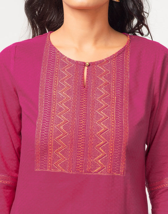Cotton Dobby Embroidered Long Kurta