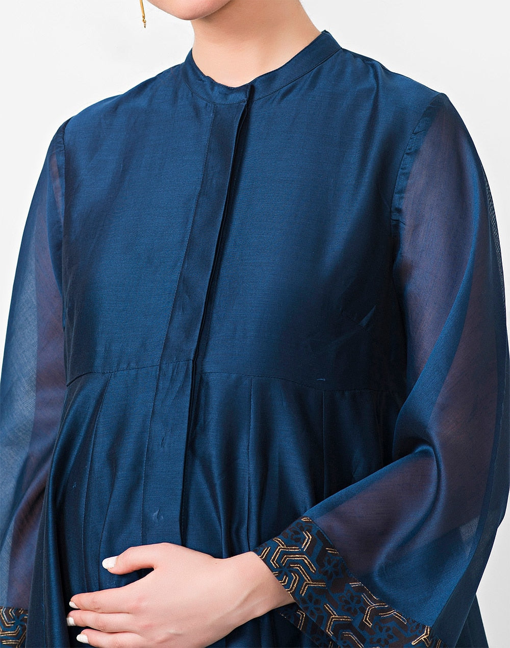 Blue Cotton Silk Flared Anarkali Kurta
