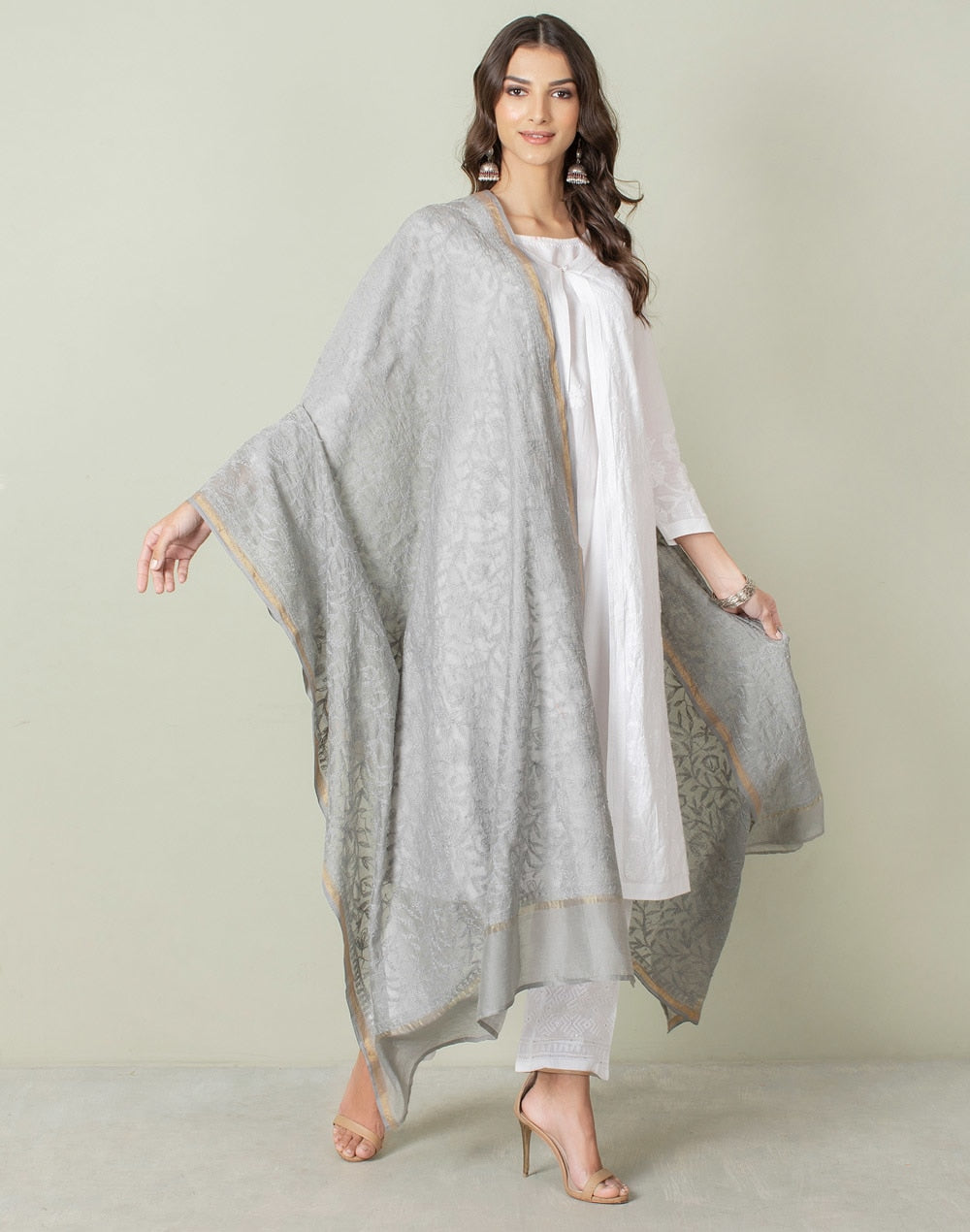 Cotton Silk Chikankari Dupatta