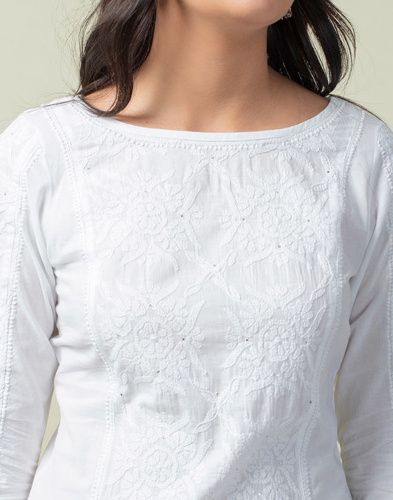 Cotton Cambric Chikankari Knee Length Kurta