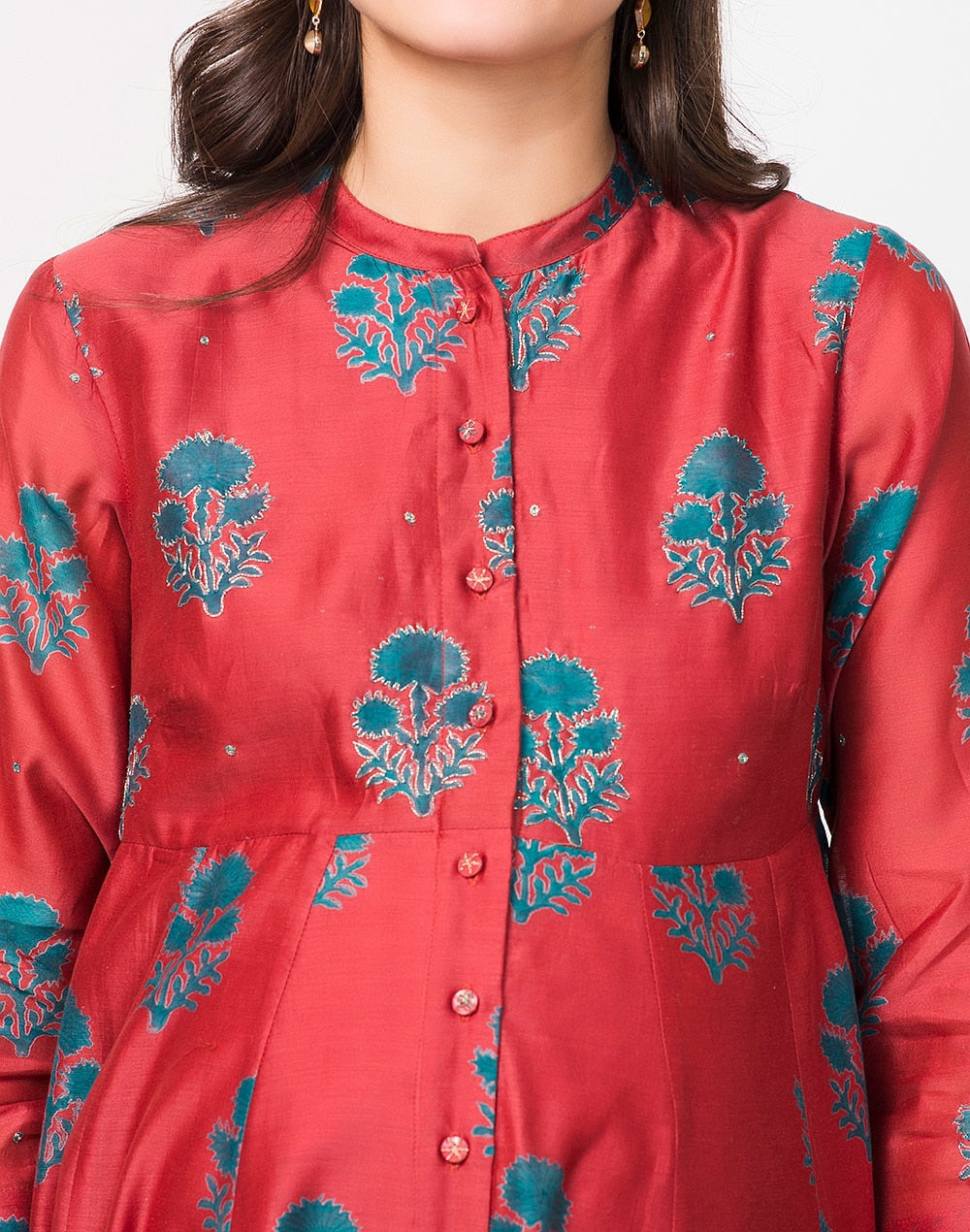 Maroon Cotton Silk Printed Anarkali Kurta