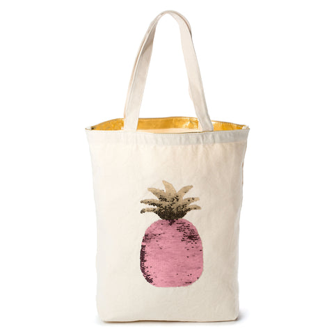 sequined pineapple canvas tote