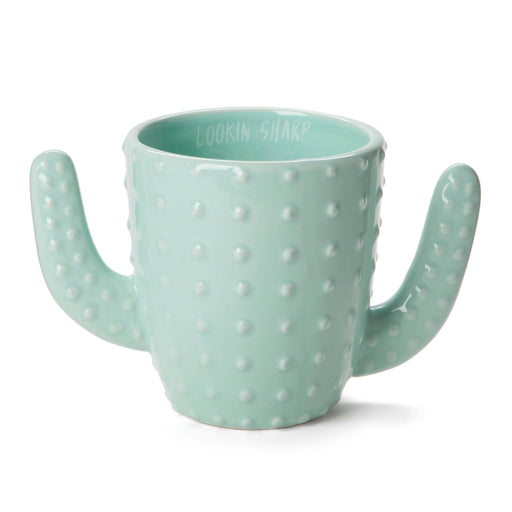 cactus shaped ceramic coffee mug with lookin sharp quote posh and pop