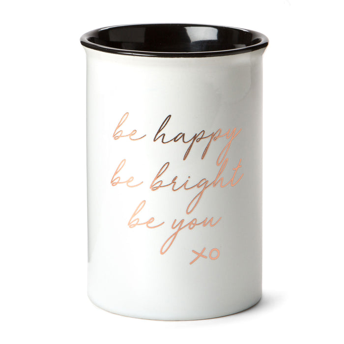 be happy be bright be you ceramic desk organizer posh and pop