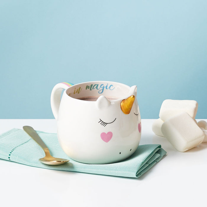 believe in magic unicorn mug posh and pop