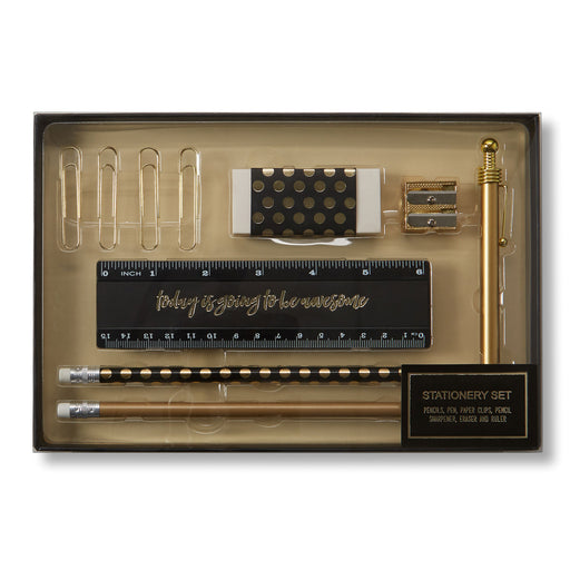 stationery desk set black and gold posh and pop