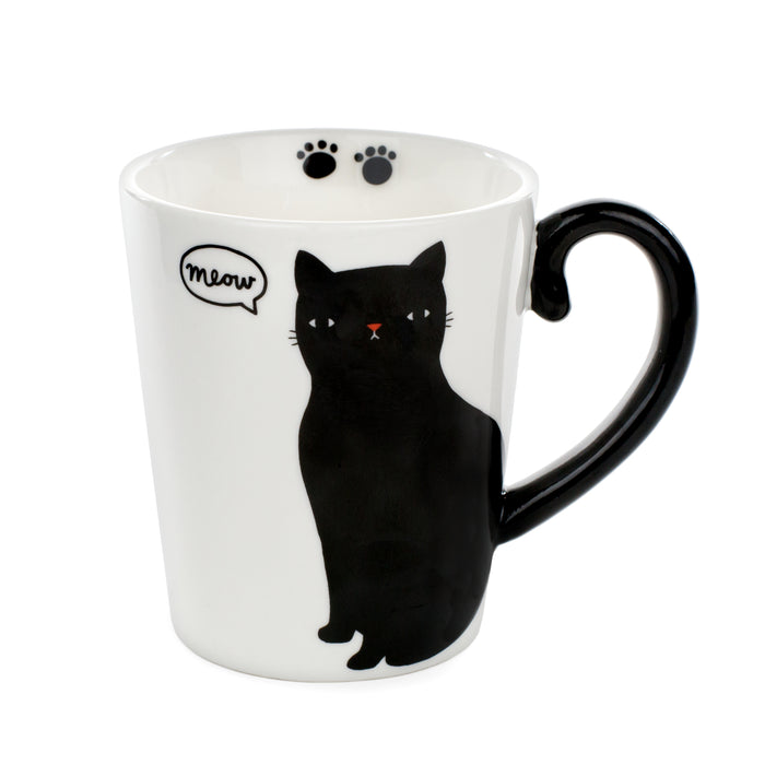 black cat mug meow drink your coffee and tea cat lover
