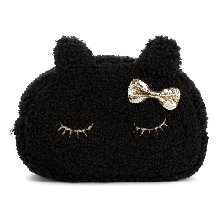 fuzzy black cat cosmetic bag posh and pop