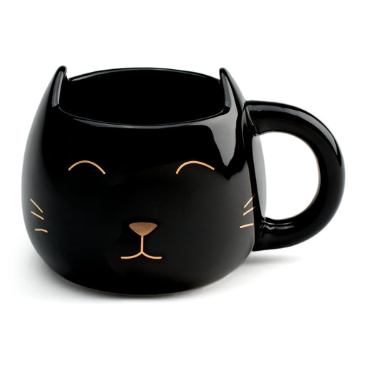 black, over-sized black cat mug, meow, cuddle up with coffee or tea