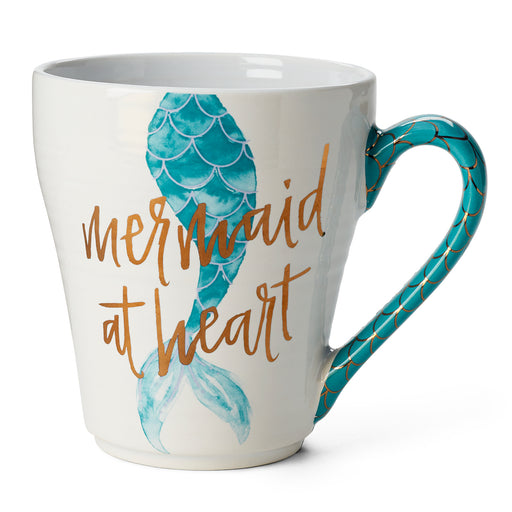 mermaid coffee mug in blue, ceramic mug, summer beach vibes
