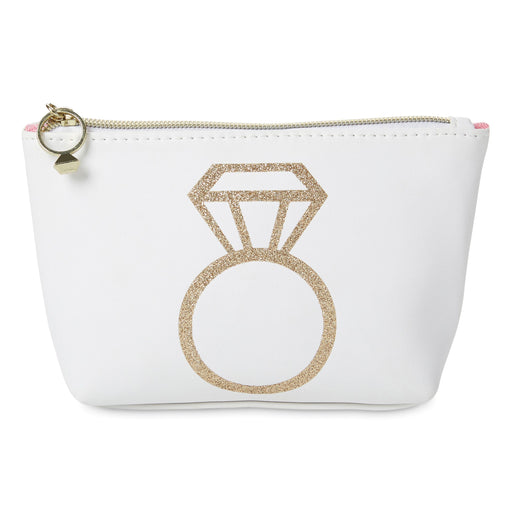 white bag with gold glitter engagement ring and diamond ring zipper pull posh and pop
