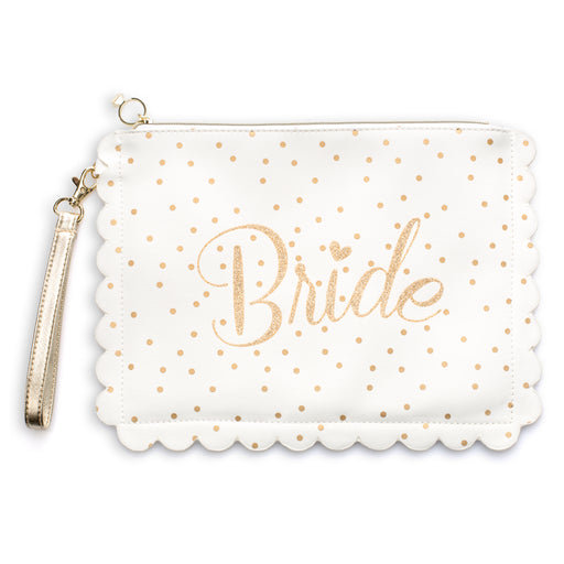white and gold bridal scalloped wristlet posh and pop
