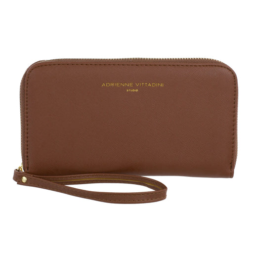 brown faux leather charging wristlet adrienne vittadini posh and pop