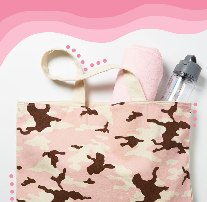 pink camo tote bag - lifestyle view - posh and pop